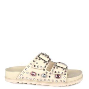 e032566b7a62 ASH PEACE Sandals White Leather & Gold Studs – La Suite Online